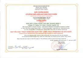Chứng nhận GMP sản xuất thực phẩm chức năng IMC